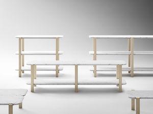 estantera baja moderna de madera maciza de mrmol - Estanterias Bajas