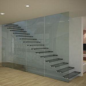 escalera recta con peldaos de vidrio estructura de acero inoxidable estructura de vidrio