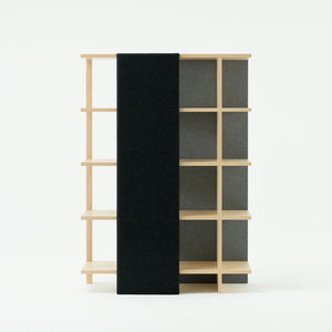 biblioteca biombo moderna de madera de tela