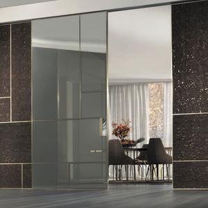 puerta de interior corredera de madera de vidrio