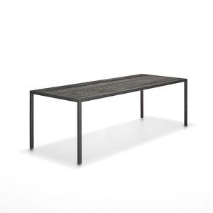 mesa moderna de roble rectangular cuadrada