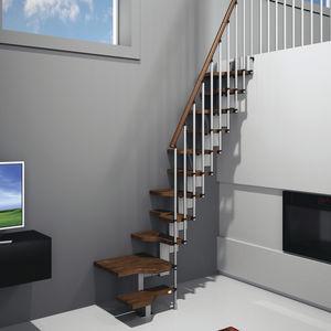 escalera recta en l con peldaos de madera estructura de metal