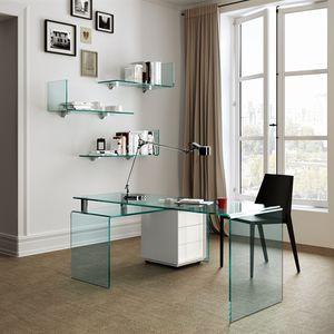 escritorio de vidrio moderno profesional de esquina