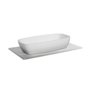 lavabo sobre encimera rectangular de cuarzo moderno