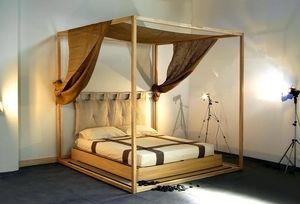 cama con dosel doble moderna de madera