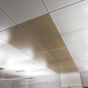 falso techo de madera tipo panel en losas acstico - Falso Techo Madera