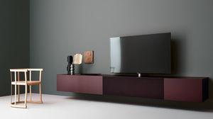 mueble de televisin moderno de madera lacada de metal