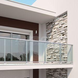 barandilla de vidrio de aluminio con paneles de vidrio de exterior