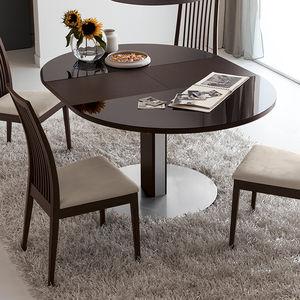 mesa moderna de madera lacada redonda ovalada