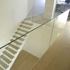 barandilla de vidrio con paneles de vidrio de interior para escalera