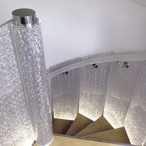 barandilla de fibra acrlica con paneles de interior para escalera