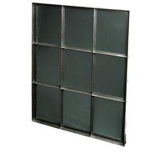 espejo de pared de estilo industrial cuadrado de metal