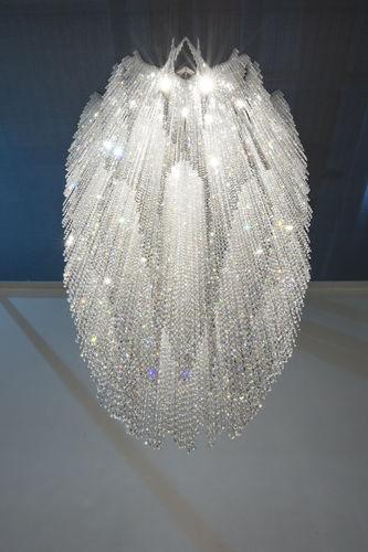 Lámpara araña moderna / de cristal / de acero inoxidable / LED BURJ Manooi