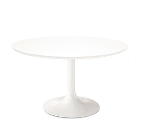 mesa de comedor moderna / de madera / de acero cromado / redonda