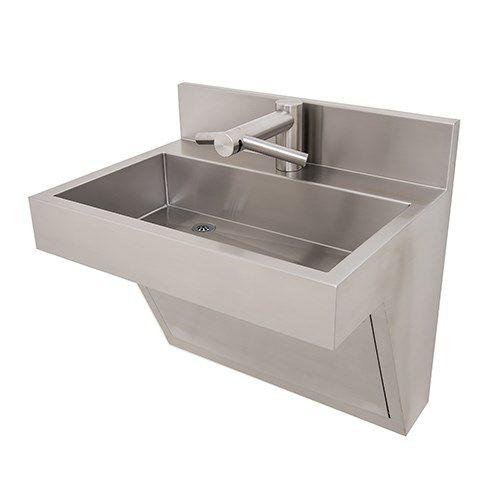 lavabo suspendido / rectangular / de acero inoxidable / moderno