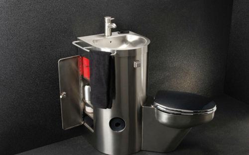 Inodoro de pie / de acero inoxidable / con lavabo integrado / para uso profesional NEO-COMBY : 8960 Neo-Metro