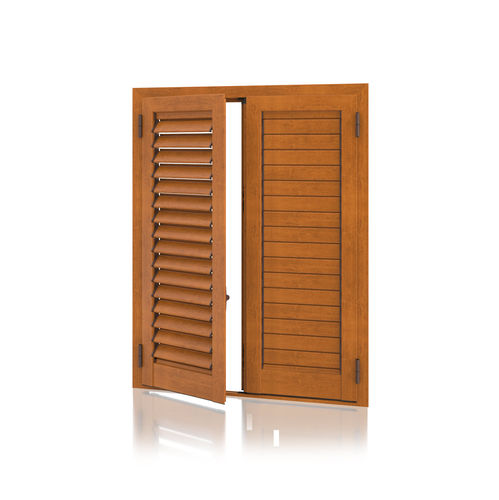 contraventana abatible / de aluminio / para puerta / con celosía