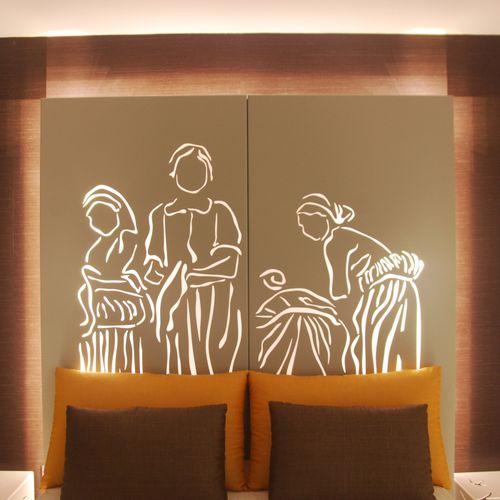 cabecero para cama doble / de diseño original / de metal / con luz integrada