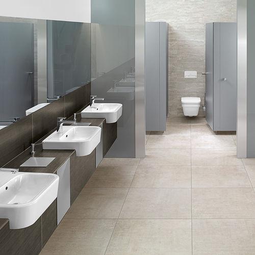 lavabo semiencastrado / rectangular / de cerámica / moderno