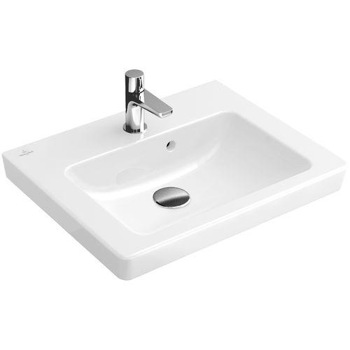 lavabo suspendido / rectangular / de porcelana / moderno