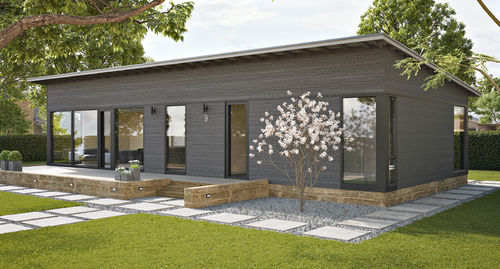 casa pasiva / individual / de madera maciza apilada / moderna