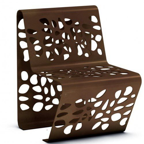 silla moderna / de chapa de acero / para espacio público / de exterior
