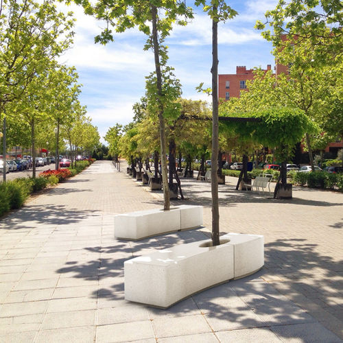 guarda-árboles de hormigón / con banco público integrado