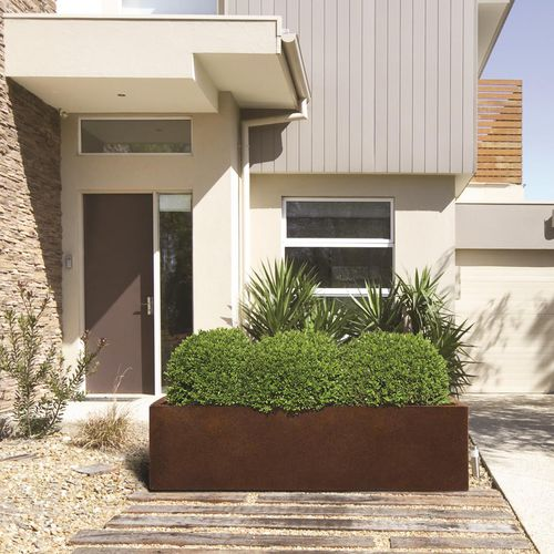 jardinera de acero COR-TEN® / rectangular / moderna / para espacio público