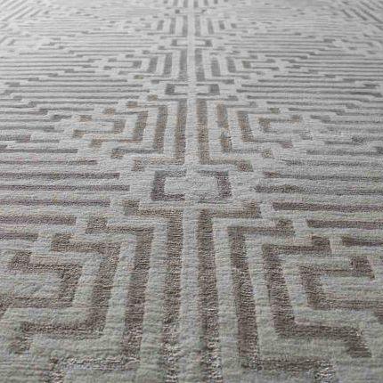 alfombra moderna / con motivos geométricos / de seda / de lana del Tíbet