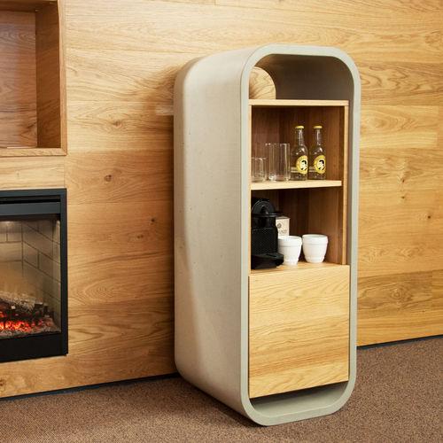 mueble minibar moderno / de hormigón / de roble / para habitación de hotel