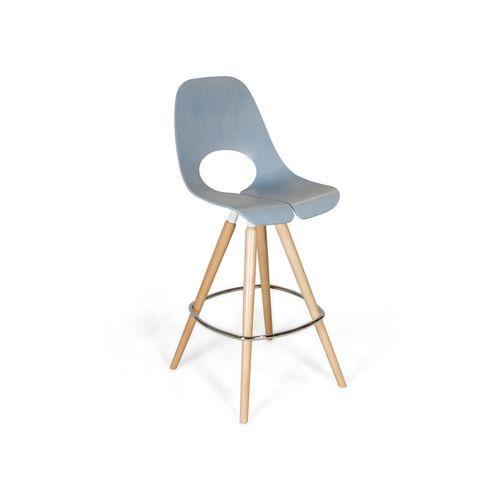 silla de bar moderna / con reposapiés / patín / de madera