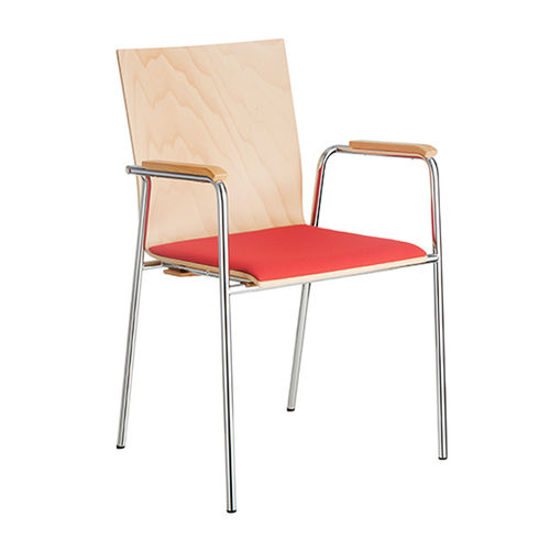 silla de conferencia moderna / con reposabrazos / tapizada / de cromo