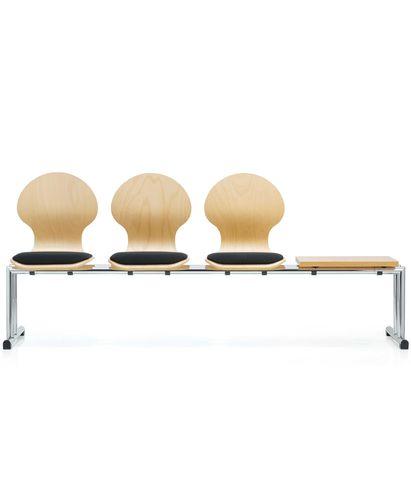 hilera de sillas de cuero / de metal / 3 plazas / de interior