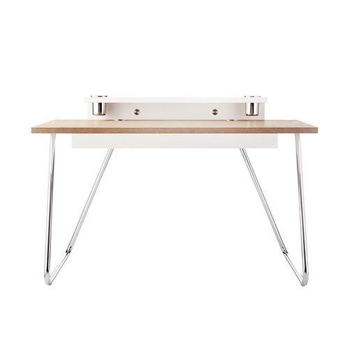 escritorio de roble / de chapa de madera / de acero / moderno