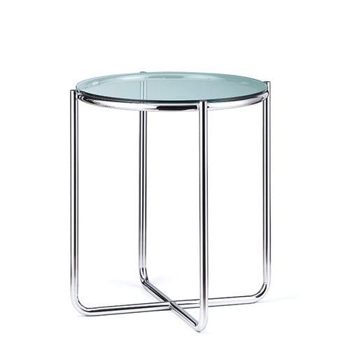 mesita auxiliar de diseño Bauhaus / de vidrio / de acero / redonda