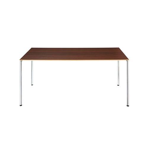 mesa de reuniones moderna / de aglomerado / de metal cromado / rectangular