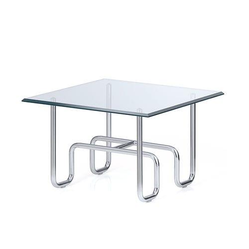 mesa de centro moderna / de vidrio / de metal cromado / cuadrada