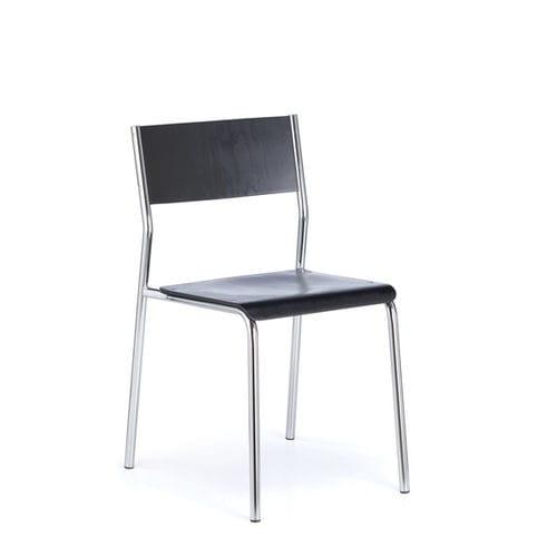 silla de visita de diseño Bauhaus / apilable / tapizada / con reposabrazos