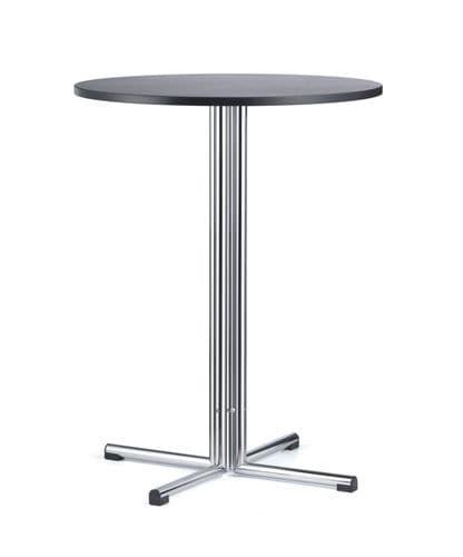 mesa bistró moderna / de haya / de metal cromado / redonda