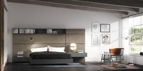 cama de matrimonio / moderna / con cabecero / con mesita de noche integrada