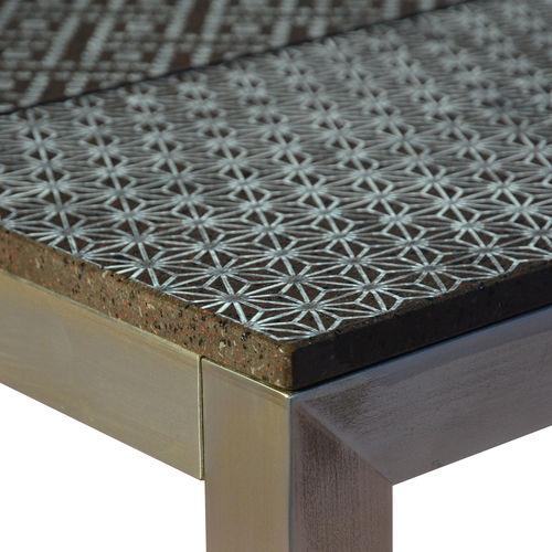 mesa piedra de lava / rectangular / de exterior / para el sector servicios