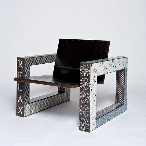conjunto de mesa y silla de diseño original / piedra de lava