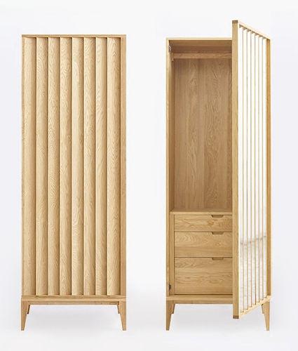 armario moderno / de roble / con puertas batientes / con cajones