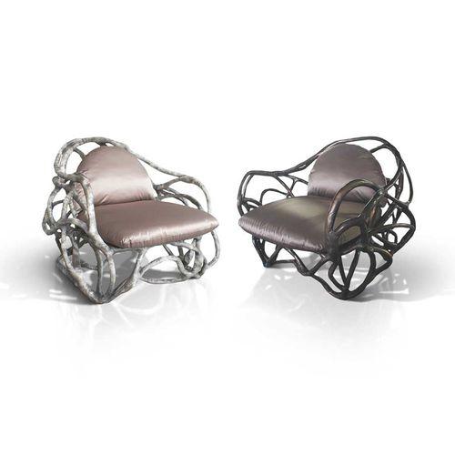 sillón de diseño orgánico / de fibra de vidrio / con cojín amovible