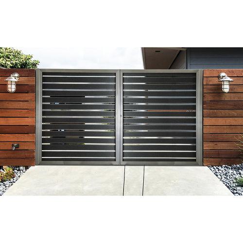 portón abatible / corredero / de aluminio / de láminas