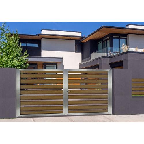 portón abatible / corredero / de aluminio anodizado / de láminas