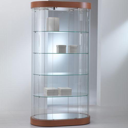 vitrina moderna / con pies / de vidrio / de roble