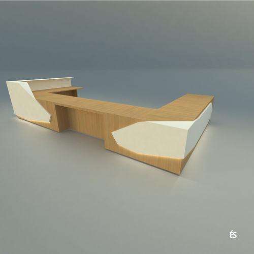 mostrador de recepción de esquina / modular / de madera / de mineral compuesto