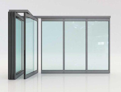 tabique plegable / de aluminio / con vidrio doble / de uso profesional