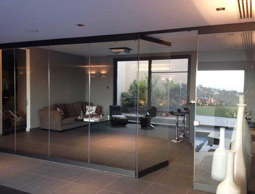 tabique plegable / de aluminio / de vidrio / para uso residencial